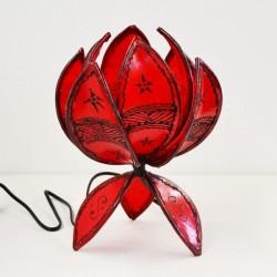 Lámpara de mesa flor de loto de piel