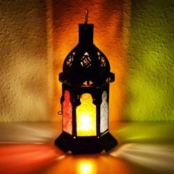 Lanterna pequeno de vela de vidro colorido