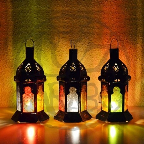 Pack 4 Lanterna pequeno de vela de vidro colorido
