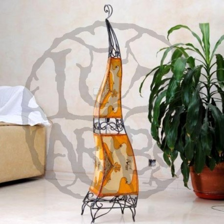Large wrought iron lamp with raw-colored skin