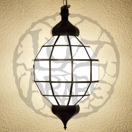 Lampadario forma di sfera invetro opaco bianco