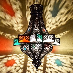 Lampadario stella ottagonale di ferro bronzato traforato e vetro con resine