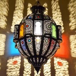 Grande lampe plafonnier de forme pomegranate de fer bronzé avec fenêtres