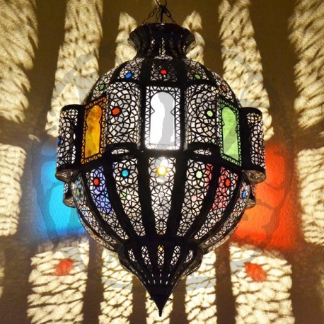 Large pomegranate shape ceiling lamp with windows of openwork bronzed iron