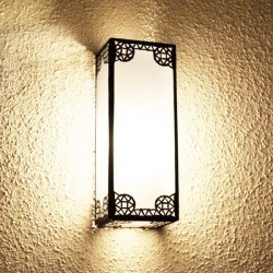 Rectangular wall sconce of white glass