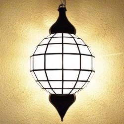 Gran lámpara esfera de cristal opaco blanco