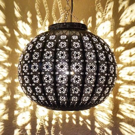 Lampadario forma sfera di ferro traforato