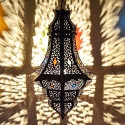 Lampe plafonnier rosebud avec feuilles en fer bronzé ajouré