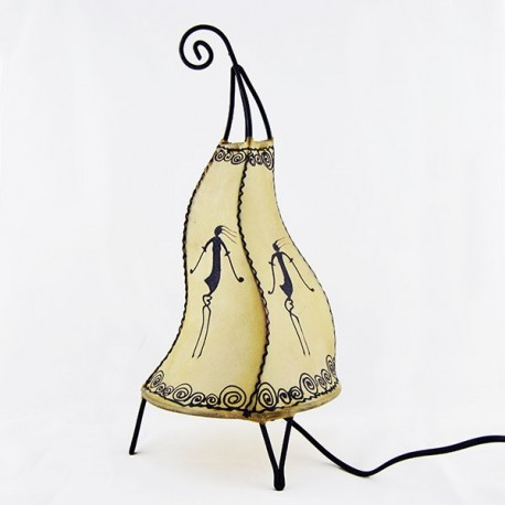 Flame shape stand lamp of leather painted with henna