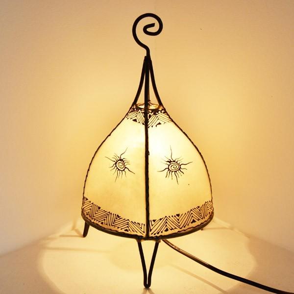 Lampe En Cuir Table Tente Peint Cm Henné Forme Au Acheter 35 De yn0wmNOv8
