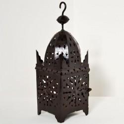 Lanterna in ferro traforato forma minareto quadrato