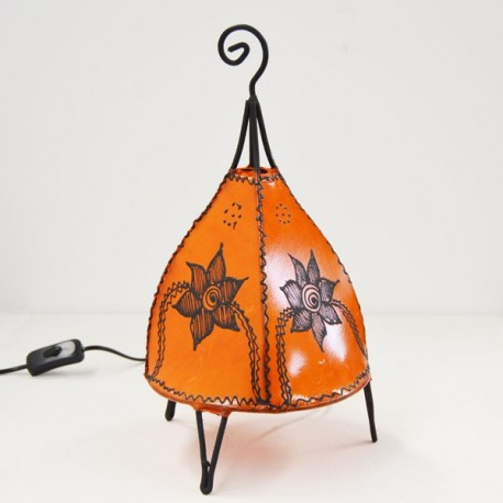 Tent shape table lamp of leather painted with henna