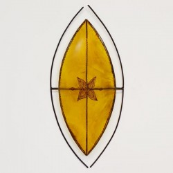 Aplique africano de forma escudo Zulú de piel pintado