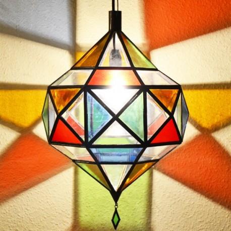 Lámpara diamante de Picasso de cristal plano transparente y de colores