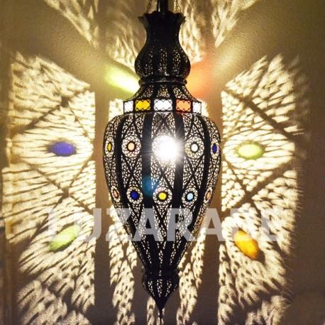 Grande lustre marocain de fer bronzé avec fenêtres
