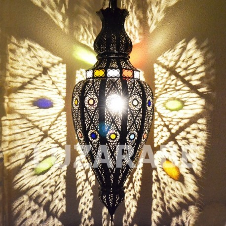 Large moroccan ceiling light of pierced bronzed iron