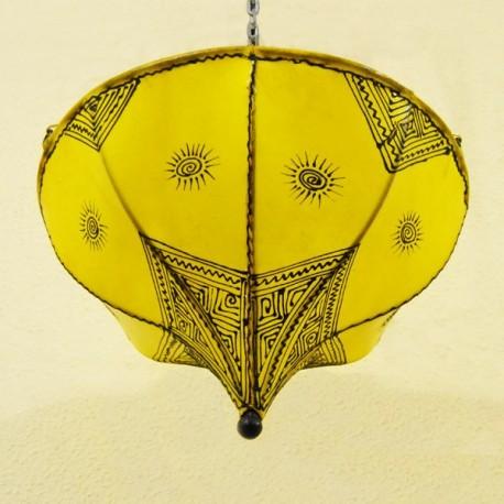Plafond la tulipe jaune en cuir peint
