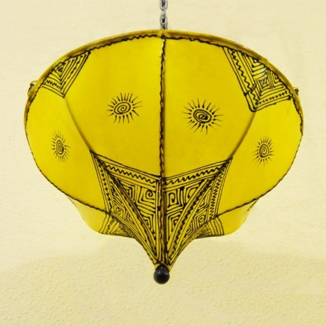 Yellow Tulip from painted leather ceiling lamp