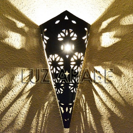Torch shape medieval wall sconce of openwork iron