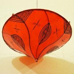 Candeeiro plafond de tecto forma lírio de couro laranja