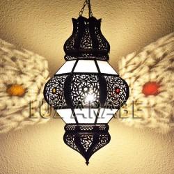 Lámpara forma Granada de forja bronceada y cristal