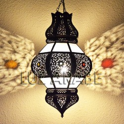 Pomegranate shape moroccan ceiling light of white opaque glass