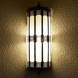 Large moroccan wall light of white glass with resin