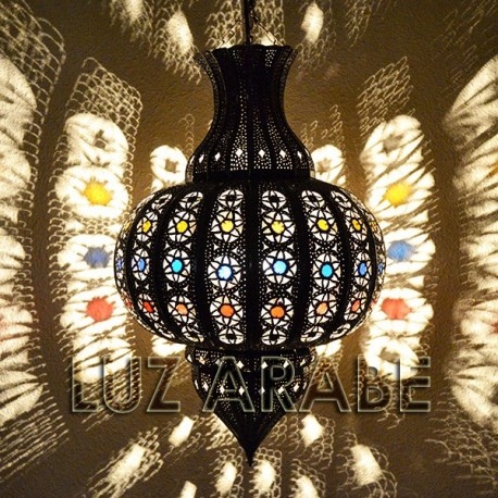 Lámpara árabe forma granada de forja bronceada