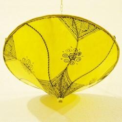 Candeeiro plafond de tecto forma lírio de couro amarelo