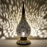 Grande lampada da tavolo marocchina in rame traforato a forma di goccia di rugiada