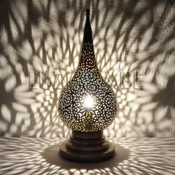 Lampara arabe de sobremesa de cobre calado forma Lagrima de Fez