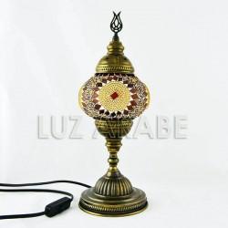 Lampada turca da tavolo in mosaico con tonalità ambra