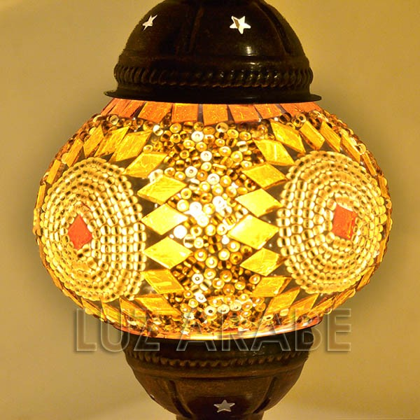 Buy turkish mosaic table lamp with amber tone 35 cm