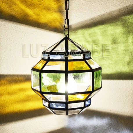 Lampe suspension Grenadian de verre coloré et transparent