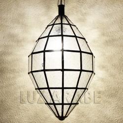 Grand lustre marocain ovale en verre imprimé