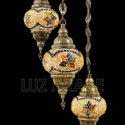 Lustre en mosaïque turque avec trois globes et ton ambre