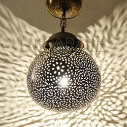 Lampe suspension marocain en laiton de forme de sphère
