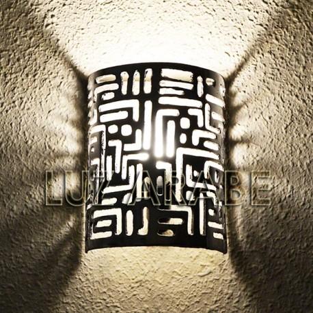 Moroccan wall light of pierced aluminum with cuneiform pattern