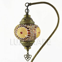 Turkish mosaic table lamp of swan shape with amber tone