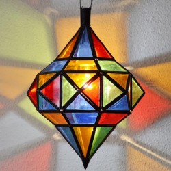 Andalusian octagonal lamp with two domes of openwork iron and colorful crystal