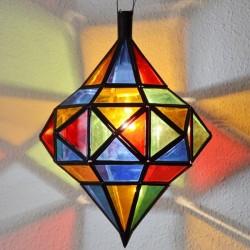 Lampe octogonale andalou avec deux dômes de fer ajouré et verre coloré