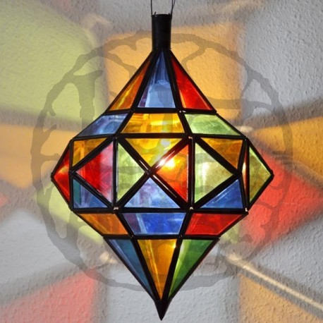 Lampara andalusí octagonal con dos cúpulas de forja calada y cristal de colores