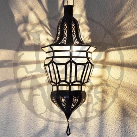 Lâmpada árabe em forma de bolota de ferro perfurada e cristal