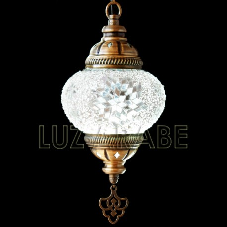 Turkish mosaic table lamp of swan shape of white colour with mirrors