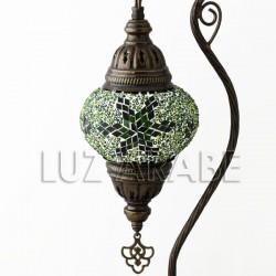 Candeeiro de mesa em mosaico turco fruto do eden com tom verde esmeralda