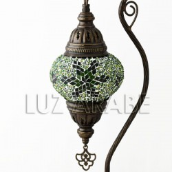 Turkish mosaic table lamp fruit of eden with emerald green tone