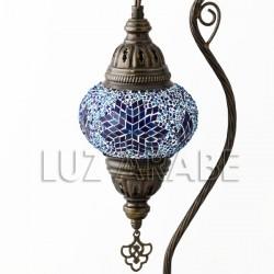 Lampara fruto del edén de mesa turca de mosaico con tono azul