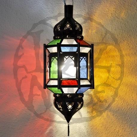 Lampara andalusí octagonal con barras y cúpulas de forja calada y cristal de colores